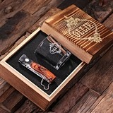 Personalized 3 pc. Gift-Set with Shot Glass & Pocket Knife in Wood Box