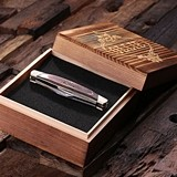 Personalized 3-Blade Wood-Handled Pocket Knife and Wood Gift-Box
