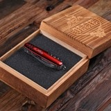 Personalized Multi-Tool Utility Army Knife in Wood Box (Red or Black)