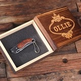 Personalized Engraved Wood-Handled Pocket Knife and Optional Wood Box