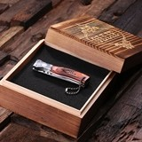 Personalized Wood-Handled Dagger Pocket Knife in Wood Gift-Box