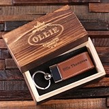 Personalized Engraved Leather Key Chain and Wood Gift-Box (3 Colors)