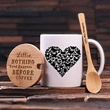 Buttefly Heart Design Coffee Mug with Engraved Bamboo Lid and Spoon