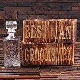 Personalized 28 oz. Glass Whiskey Decanter in Wood Box for Groomsmen