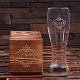 Personalized 24 oz Pilsner Beer Glass with Groomsmen Keepsake Wood Box