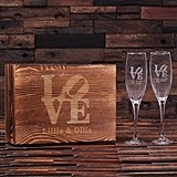 Personalized Stacked Love Design Champagne Glasses in Wood Gift-Box