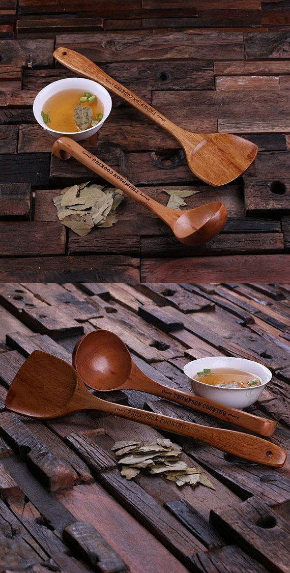 Personalized Bamboo Wood Spatula And Soup Ladle With Engraved Message