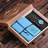 Personalized Felt Journal, Pen and Key Chain in Wooden Gift Box