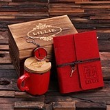 Personalized Felt Journal, Coffee Mug and Key Chain in Wood Gift Box