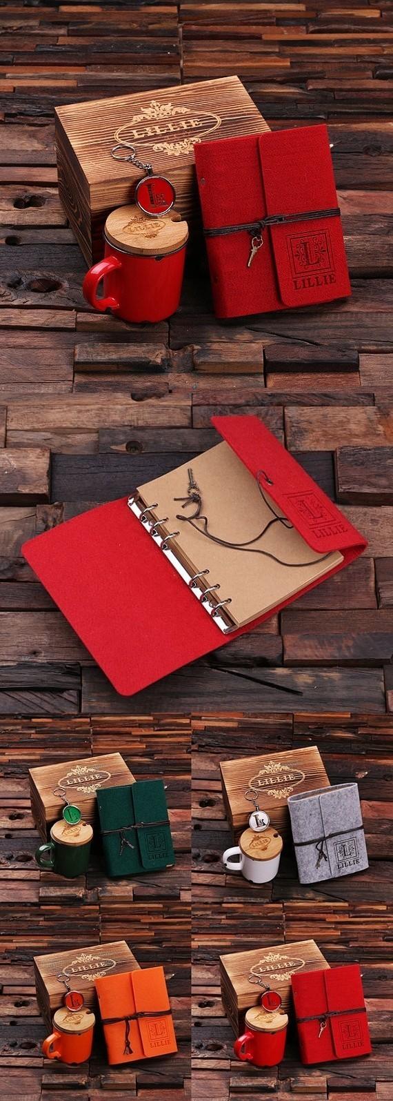 Personalized Felt Journal, Coffee Mug and Key Chain in Wood Gift Box
