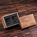 Personalized 8 oz. Whiskey Glasses Set with Wooden Gift-Box