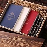Personalized Gift-Set with 3 Notebooks and 3 Pens in Keepsake Wood Box