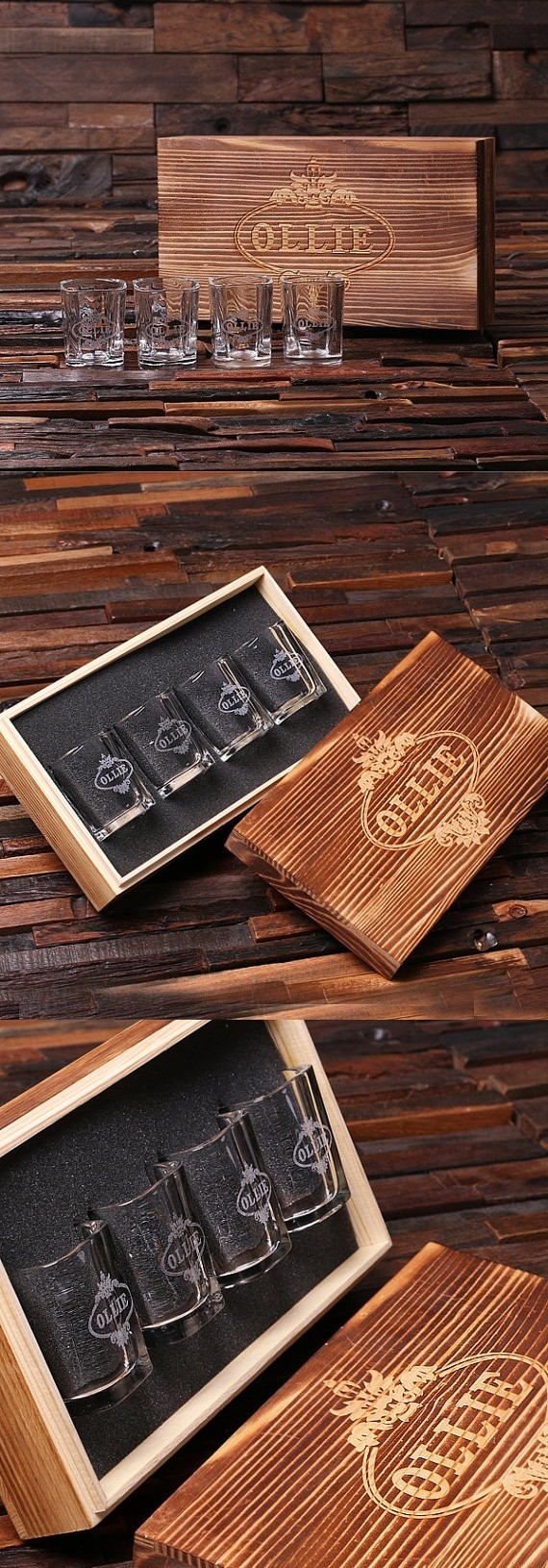 Personalized Set of 4 Shot Glasses in Keepsake Wooden Gift-Box