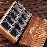 Personalized Set of 10 Shot Glasses in Keepsake Wood Gift-Box
