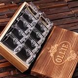 Personalized Set of 10 Shot Glasses in Keepsake Wood Box Set