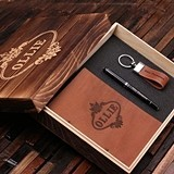 Personalized Men's Gift-Set with Journal, Pen and Keychain in Wood Box