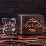 Personalized 8 oz Whiskey Scotch Glass Set with Wood Box