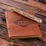 Personalized Gift Set w/ Engraved Leather Travel Journal and Wood Pen