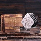 Personalized Engraved Stainless Steel Coasters w/ Wood Box (Set of 4)