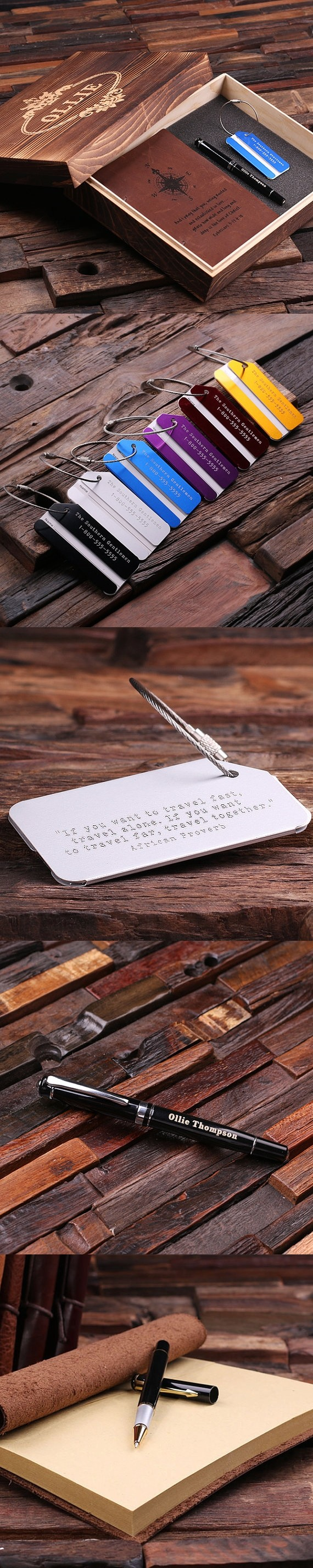 Personalized Gift-Set with Journal, Pen and Luggage Tag in Wood Box