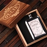 Personalized Stainless Steel Flask in Wood Box (5 Nostalgic Designs)