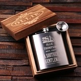 Personalized Steel Flask with Funnel in Wood Box (5 Nostalgic Designs)