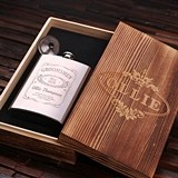 Personalized 8oz Steel Flask w/ Funnel in Wood Box (5 Vintage Designs)