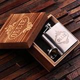 Personalized 5 oz Stainless Steel Flask with Funnel in Wooden Gift-Box