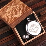 Personalized 5 oz Stainless Steel Round Flask with Funnel in Wood Box