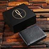 Monogrammed Black Leather Wallet in Personalized Black Wood Box