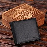 Personalized with Name Leather Wallet in Wood Box (Black or Brown)