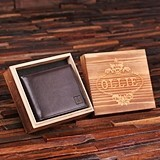 Personalized Engraved Leather Wallet in Wood Box (34 Monogram Designs)
