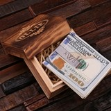 Monogrammed Polished Stainless Steel Money Clip in Wood Gift-Box
