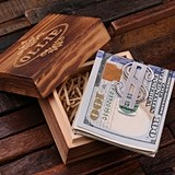 Monogrammed Stainless Steel Dollar Sign-Shaped Money Clip in Wood Box
