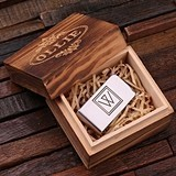Personalized Monogrammed Money Clip in Wood Box (34 Monogram Designs)