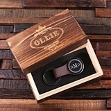 Monogrammed Leather Strap Round Key Chain in Wood Gift-Box (2 Colors)