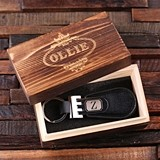 Monogrammed Leather-Tabbed Key Chain in Wooden Gift-Box (2 Colors)