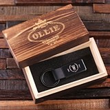Leather Key Chain with Monogrammed Hardware in Wood Box (34 Designs)