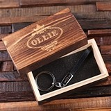 Monogrammed Engraved Leather Strap Key Chain in Wooden Box (2 Colors)