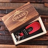 Leather Tab Key Chain with Monogrammed Plaque in Wood Box (34 Designs)