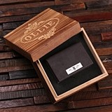 Monogrammed Leather Business Card Holder in Wood Gift-Box (2 Colors)