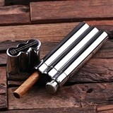 Personalized Stainless Steel Cigar Holder/Flask and Optional Wood Box