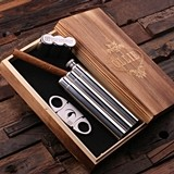 Personalized Stainless Steel Cigar Holder/Flask & Cutter in Wooden Box
