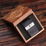 Leather Business Card Holder w/ Engraved Plate in Wood Box (2 Colors)