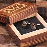 Personalized Engraved Pac Man Cuff Links in Monogrammed Wood Box