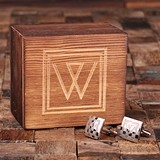 Monogrammed Engraved Classic Square Cuff Links in Wood Gift-Box