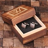 Checkered Monogram Engraved Square Cuff Links in Wood Gift-Box