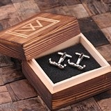 Personalized Vintage Mustache Cuff Links in Monogrammed Wood Box