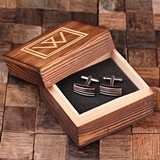 Personalized Engraved Rectangular Cuff Links in Monogrammed Wood Box