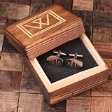 Monogrammed Engraved Classic Oval Cuff Links in Wood Gift-Box